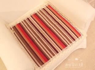 彩色条纹 亚麻编织 田园 布艺 办公 椅垫 坐垫 餐椅垫,沙发垫,