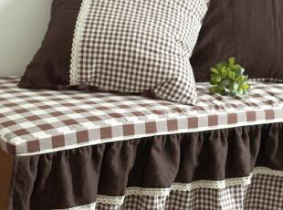 【3米家】格子飘窗垫定制/窗帘成套定制飘窗垫/美美的荷叶边,沙发垫,