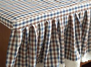 【3米家】美式乡村格子棉麻布窗帘飘窗垫定制/自然风地中海,沙发垫,