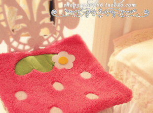TG001♥特 温软软の羊羔绒草莓系带椅垫^^2色 ♥PH,沙发垫,