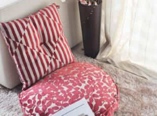 限量抢购 时尚红色条纹靠垫 树叶坐垫 榻榻米自由组合,沙发垫,