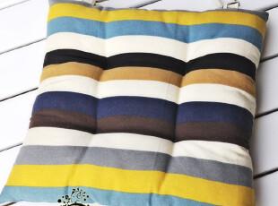 夏季新品 简约时尚 帆布布艺条纹椅子垫 加厚坐垫 餐椅垫 42*42cm,沙发垫,