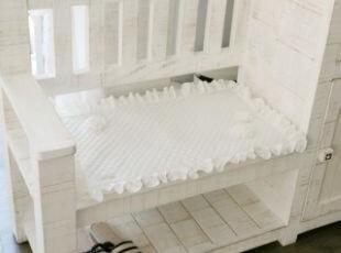 韩国正品代购 优雅浪漫荷叶边立体花朵衍缝沙发垫/白色飘窗垫,沙发垫,