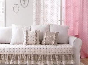 韩国进口代购 圆点木耳边亚麻沙发垫/坐垫 夹棉加厚 3个颜色,沙发垫,