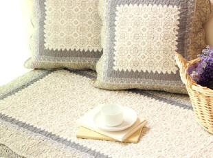 外贸秋冬田园绗缝全棉布艺防滑皮沙发垫坐垫沙发巾飘窗垫瓷蓝,沙发垫,