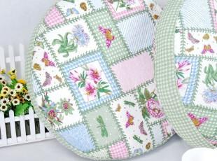 花样时光  绿格蝴蝶大圆垫蒲团飘窗垫坐垫,沙发垫,