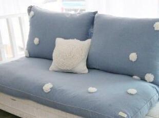 韩国官网代购 蓝海洋里的小野花 蓝色大坐垫/懒人沙发三件套,沙发垫,