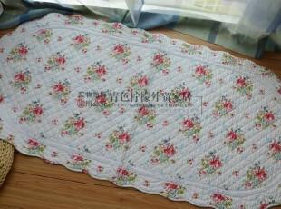 外贸尾单舒适纯棉布田园碎花钩边 椭圆形 沙发垫 飘窗垫 2.2斤,沙发垫,