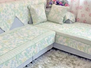 绮曼家居 绿叶情 纯棉布艺沙发垫  飘窗垫  坐垫 田园,沙发垫,