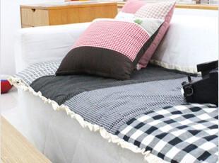 2012新款韩国代购100%纯棉拼色格子双面用长款花边布艺沙发垫坐垫,沙发垫,