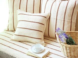 美丽说推荐外贸田园棉线宜家坐垫沙发垫沙发巾飘窗垫米白菱形,沙发垫,