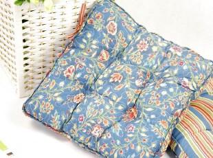 花样时光  蓝色石竹花方形多功能布艺加厚坐垫餐椅垫,沙发垫,