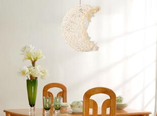 【和颜】田园风藤艺手工编织月亮吊灯餐厅灯卧室灯书房灯灯具LB21,灯具,