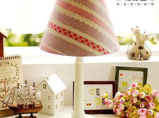 【柏汀堡】韩国田园桃心水玉条纹复古布艺床头卧室书房台灯B6007,灯具,