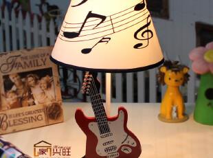 创意儿童台灯时尚田园床头灯木制电吉他生日礼物小提琴床头卧室,灯具,