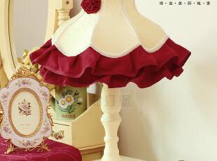 【柏汀堡】欧式韩式田园米黄红色布艺14寸台灯A9018婚房新房首选,灯具,