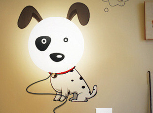 花颜墙纸壁灯 壁灯和墙纸的创意组合 斑点狗 粉红猪 3D立体效果,灯具,