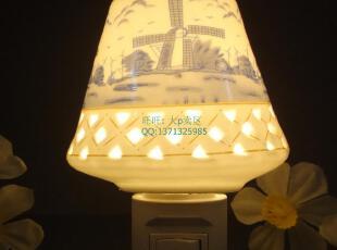 蓝色风车 陶瓷小夜灯   香薰灯 儿童灯  壁灯    家居灯,灯具,