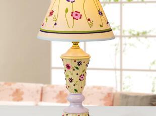创意儿童台灯 田园台灯 树脂台灯 可爱儿童房小花朵台灯,灯具,
