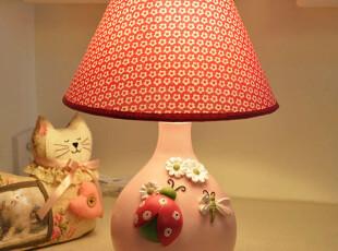 白菊花台灯/韩式女孩粉色台灯/小夜灯/卧室/床头灯/婚房创意台灯,灯具,