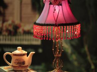 【批发】12*8 欧式宫廷古典蕾丝台灯 铁艺串珠台灯 床头灯,灯具,