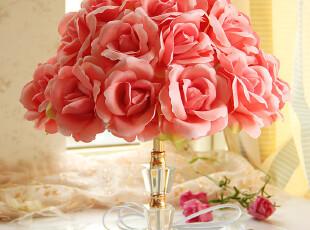 布艺台灯卧室床头灯田园红色新结婚庆婚房礼物创意花朵浪漫台灯,灯具,