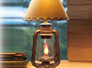 美式乡村台灯 创意双头装饰煤油灯 欧式个性创意卧室床头台灯,灯具,