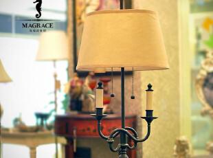 「MAGRACE」莎迈奇 古典全铜双头台灯 欧式田园卧室床头台灯,灯具,