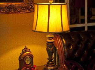 7折包邮 古德维尔欧式宫廷复古树脂卧室床头台灯  书房客厅台灯,灯具,