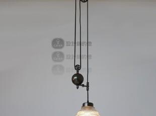 【设计师的灯】Loft 乡村工业风格 可调整高度 伸缩玻璃罩 吊灯,灯具,