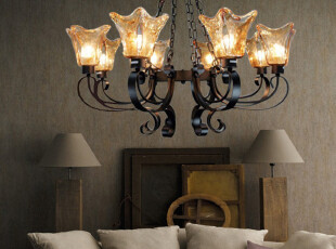 欧莱特地中海客厅灯具欧式吊灯宜家铁艺灯简约现代吸顶大吊灯9002,灯具,