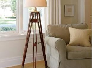 【纽约下城公园】美式经典木质测量员样式三脚架落地灯,灯具,