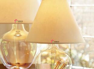 现货美克美家台灯北欧卧室床头灯客厅灯创意婚庆调光台灯玻璃台灯,灯具,