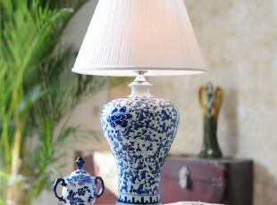 墨菲家居 景德镇复古典青花陶瓷将军罐中式卧室床头客厅手绘台灯,灯具,