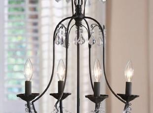 美式乡村 家居饰品 做旧铁艺水晶吊灯 美克美家风格 外贸出口原单,灯具,