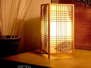 T【秋枫】中式日式台灯吊灯 羊皮田园竹灯具 卧室灯床头灯书房灯,灯具,