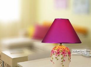 婚庆卧室台灯时尚田园布艺灯罩台灯卧室床头灯具 G3898,灯具,