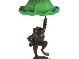 【纽约下城公园】雨中曲 荷叶下的小青蛙铜质装饰台灯,灯具,