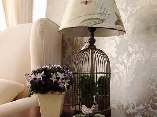美式乡村风格铁艺装饰鸟笼台灯 客餐厅/卧室/书房 家居软装饰,灯具,
