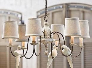 【纽约下城公园】法式Shabby Chic风格 头顶小鸟六灯头装饰吊灯,灯具,