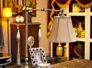 「MAGRACE」威廉尔斯 欧式居家电镀复古铜 弯头伸缩台灯,灯具,