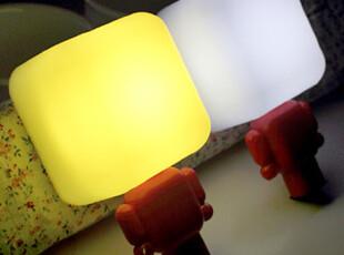 懒角落★创意家居 可爱方头 光控插座小夜灯 节能led床头灯 35475,灯具,