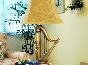【LARY的琴】希腊竖琴造型 欧式树脂台灯 美式台灯 床头灯,灯具,