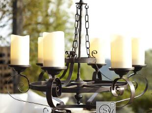 北欧家宜美式乡村简约艺术客厅吊灯卧室吊灯铁艺6头吊灯,灯具,