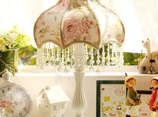 包邮 欧式韩式乡村田园蕾丝布艺卧室床头台灯A8139 阿尔卑斯玫瑰,灯具,