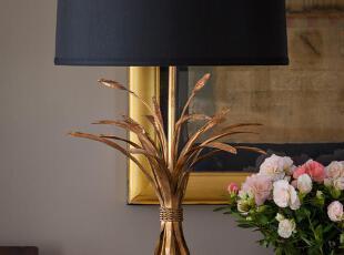 【纽约下城公园】  古典金色麦穗造型黑色灯罩台灯,灯具,