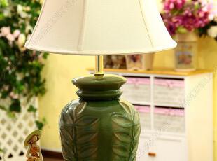 欧式乡村田园复古地中海裂釉陶瓷客厅大台灯卧室床头时尚台灯,灯具,