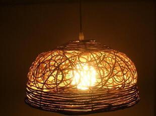 田园风格藤编吊灯半圆艺术吊灯客厅灯卧室灯具创意餐厅灯饰,灯具,