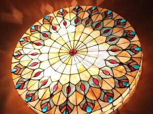 蒂凡尼灯贝壳灯 欧式吸顶灯卧室灯 客厅灯餐厅灯 24寸孔雀尾顶灯,灯具,