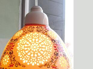 【韩国进口家居】*奢华陶瓷彩绘镂空吊灯n0378,灯具,